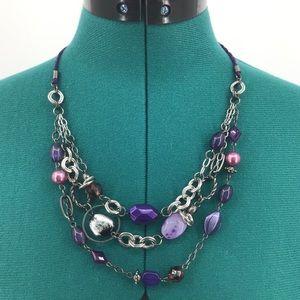 Lia Sophia Purple Haze Multi Strand Necklace 32L52